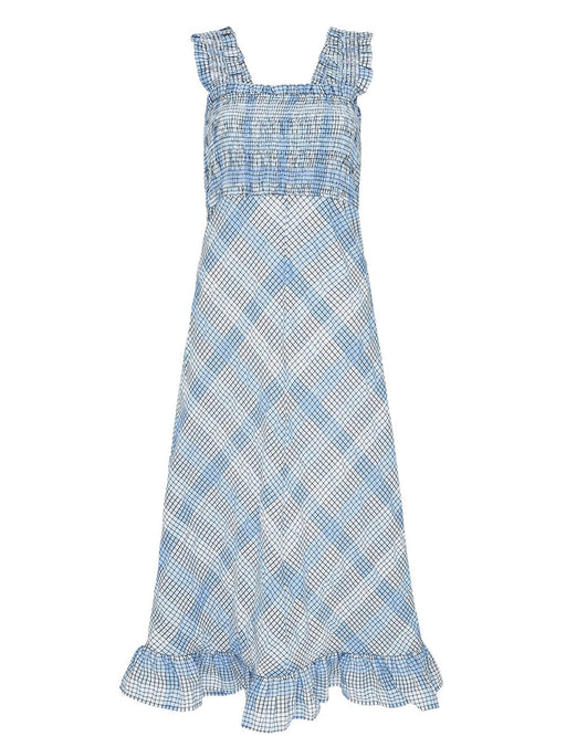 Seersucker Check Maxi Dress