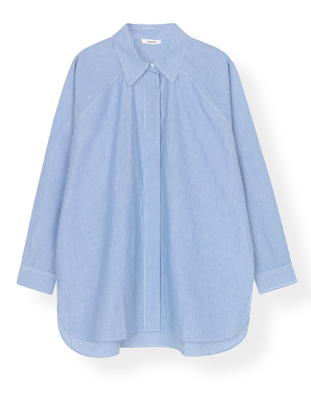 Striped Cotton Poplin Long Shirt