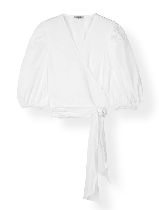 Plain Cotton Poplin Wrap Blouse