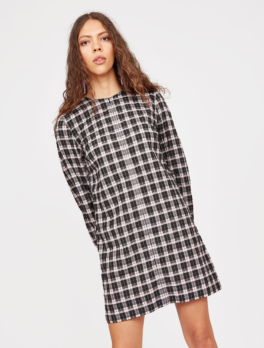 Seersucker Check Mini Dress