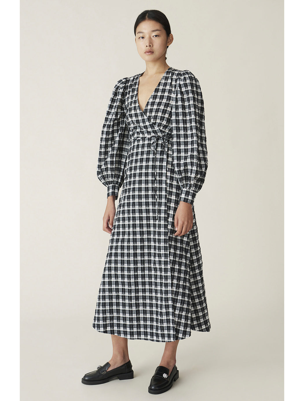 Seersucker Check Wrap Dress