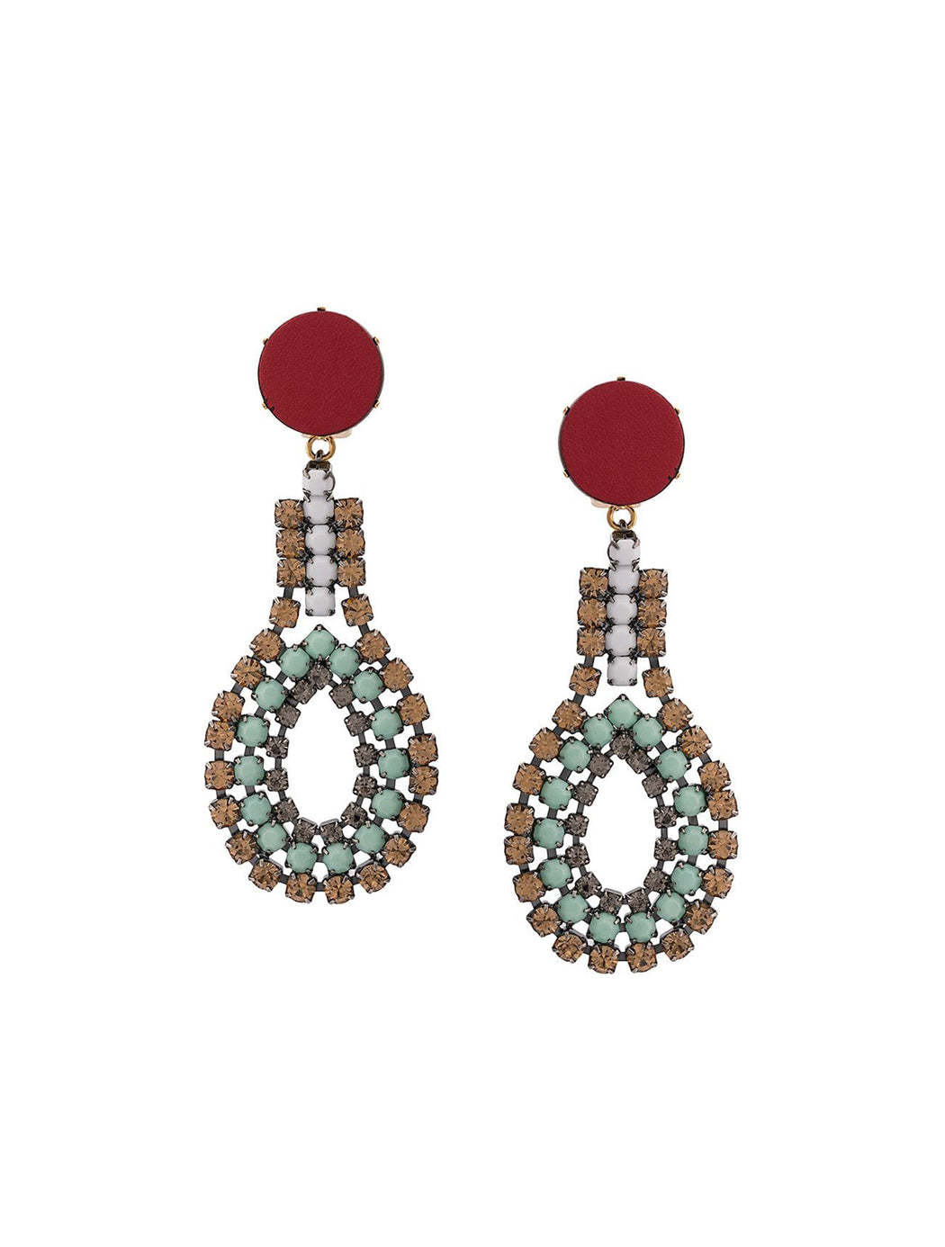 Leather Beaded Drop Earrings