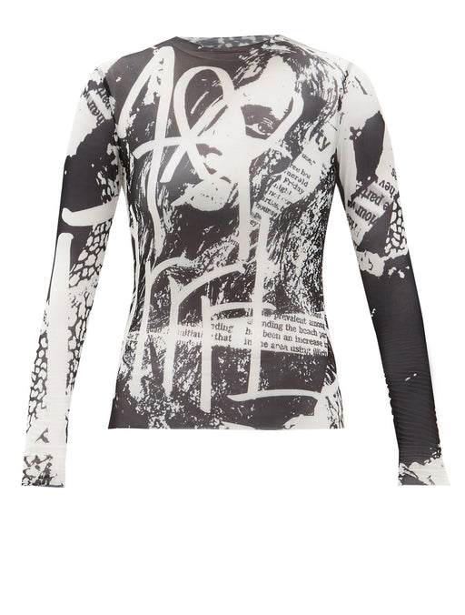 Printed Mesh Long Sleeve Top