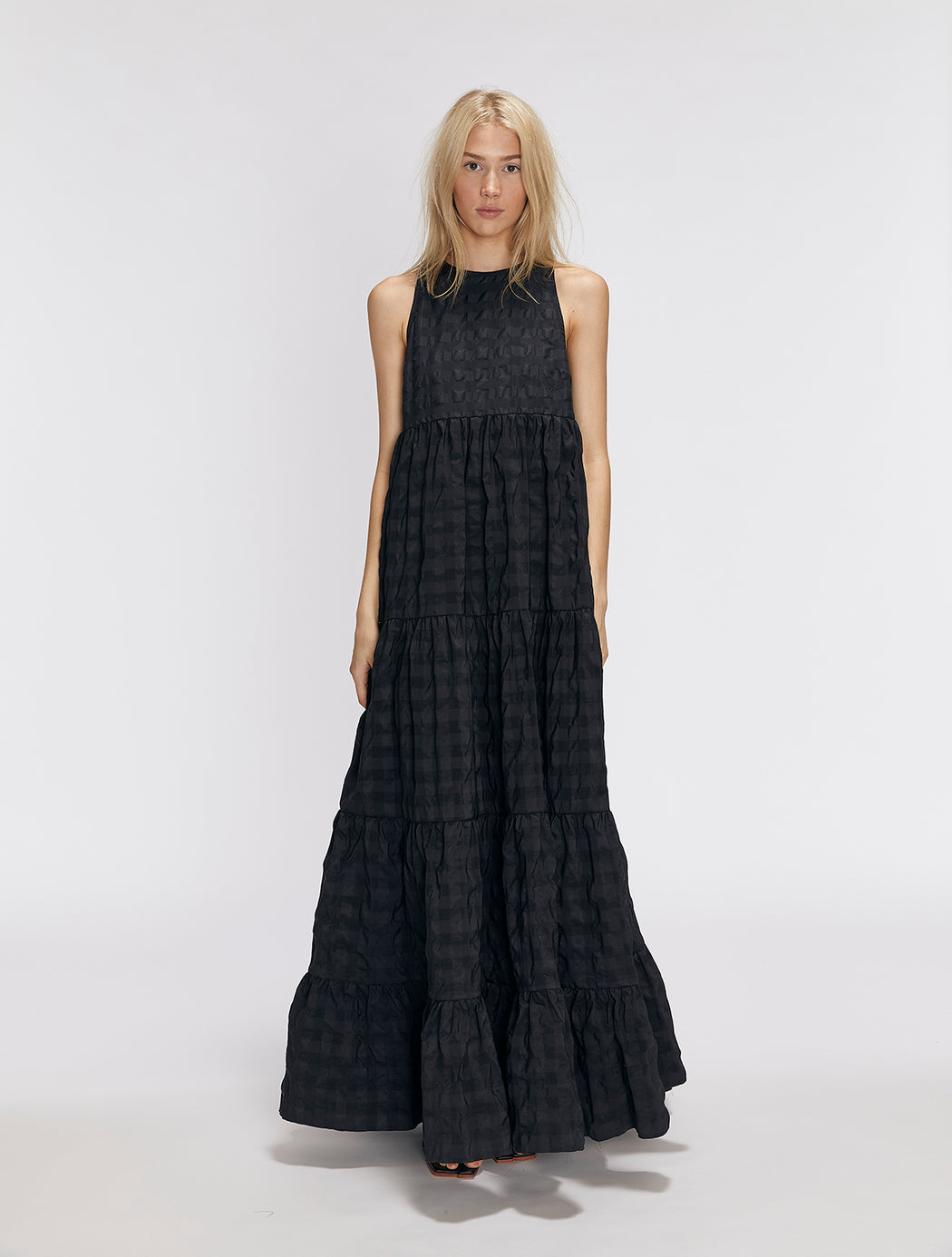 Floor Length Gathered Panel Dress