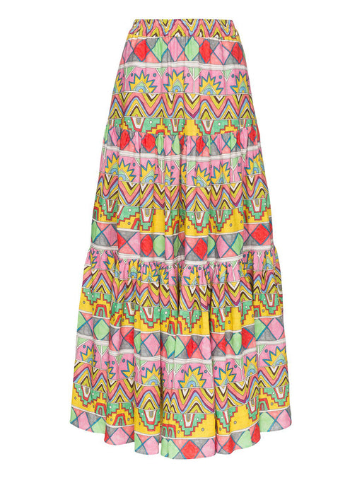 Ethnic Ribbon Print Maxi Skirt