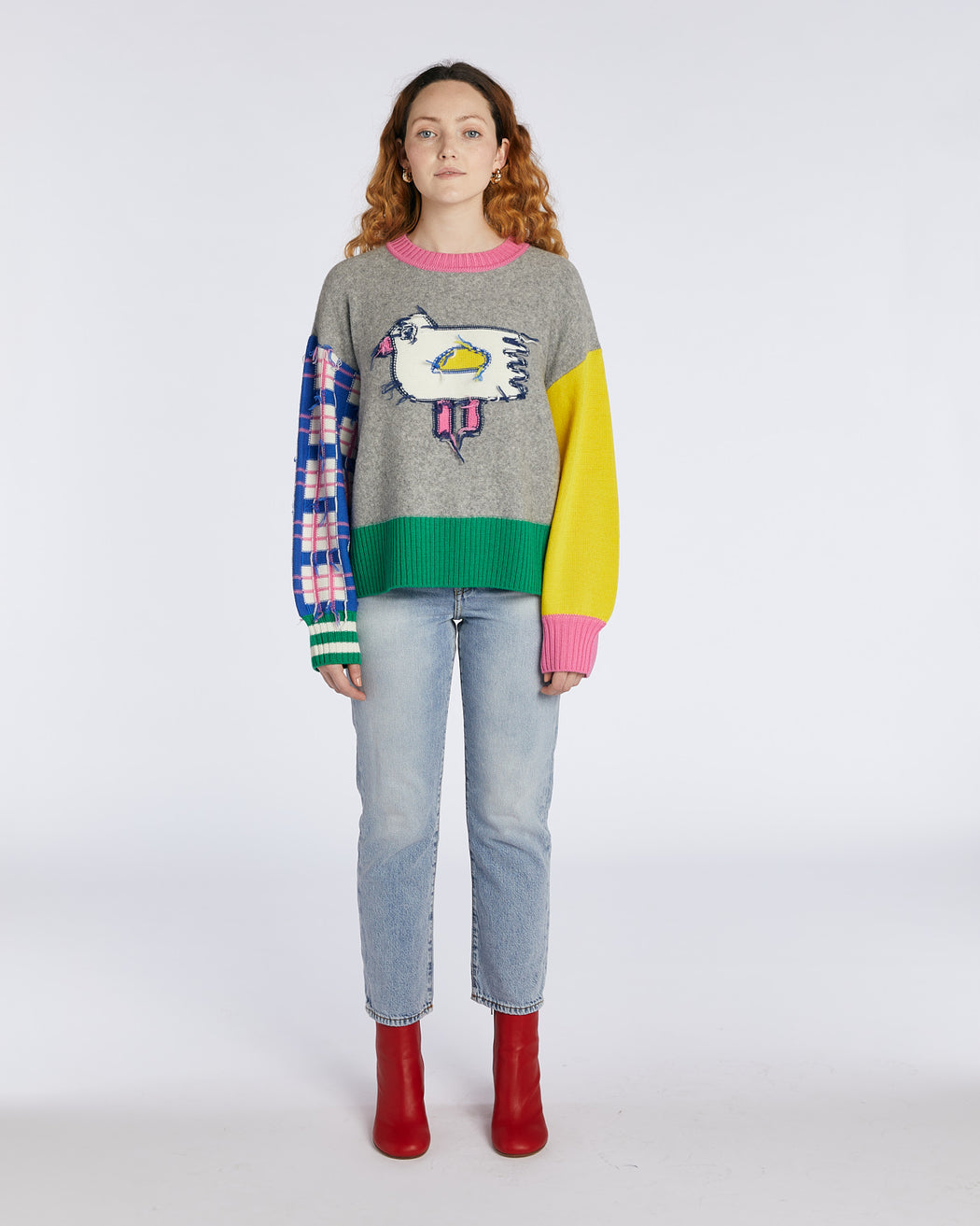 Reversible Colour Block Bird Jumper