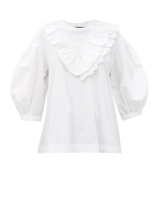 V-Frill Puff Sleeve Top