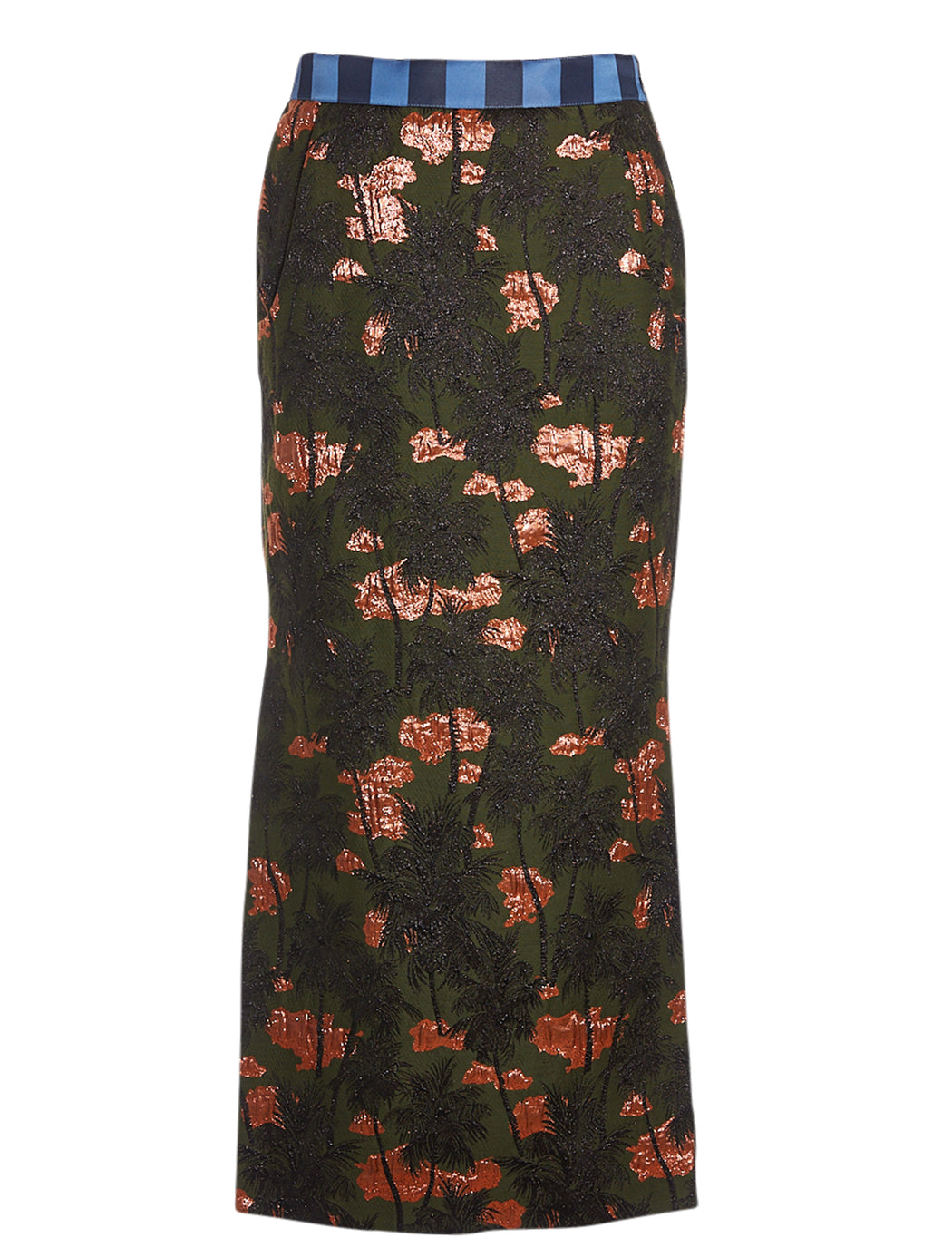 Brocade Palm Pencil Skirt