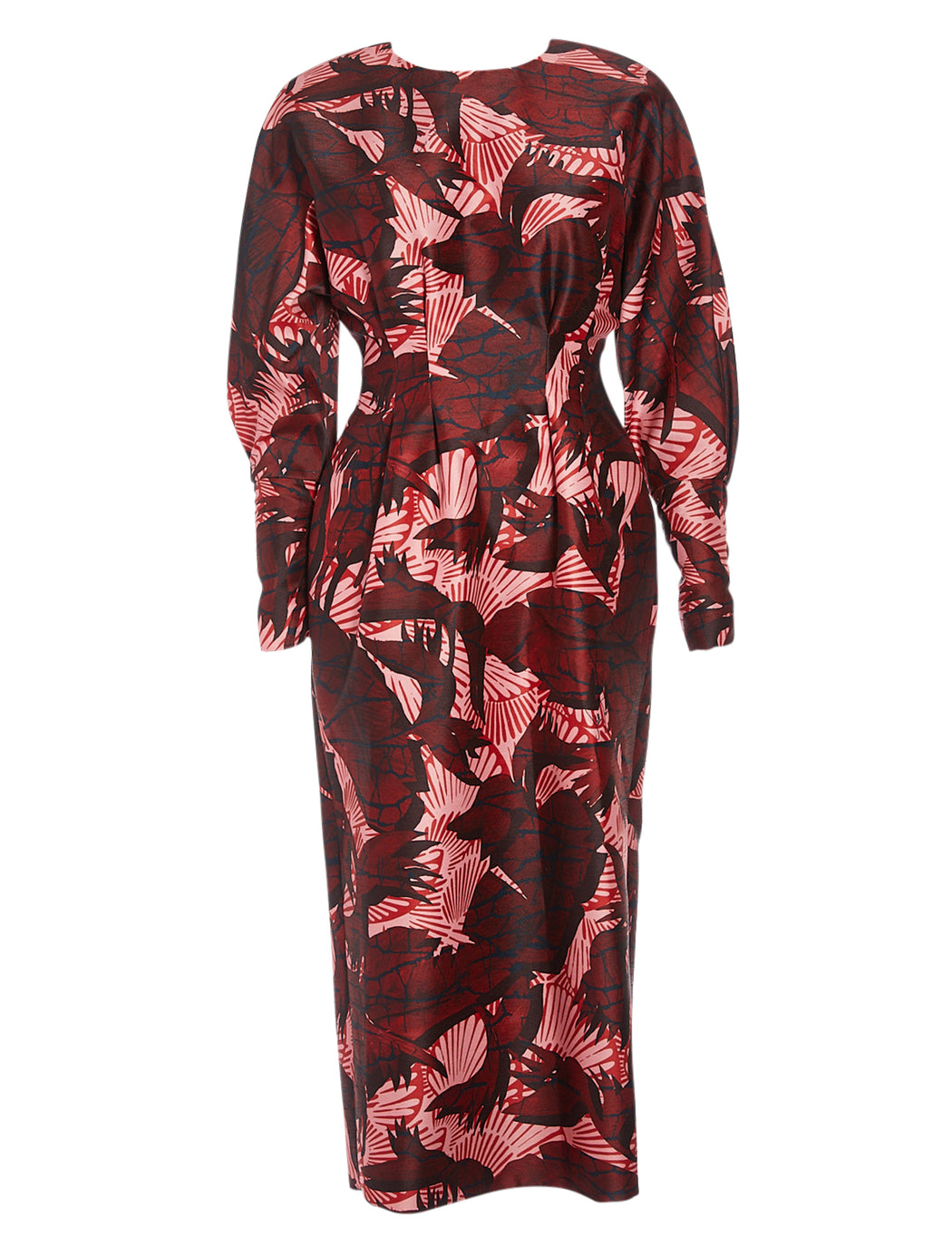 Fitted Palm Print Dress