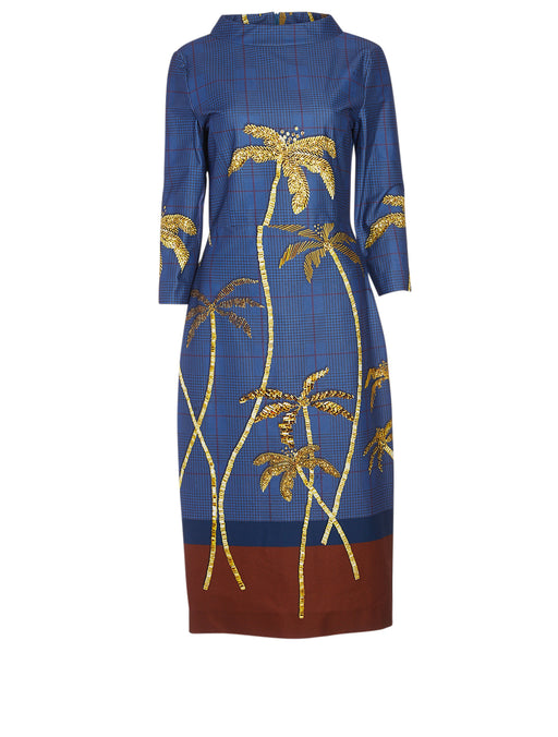 Gold Bead Palm Print Tailored Dress