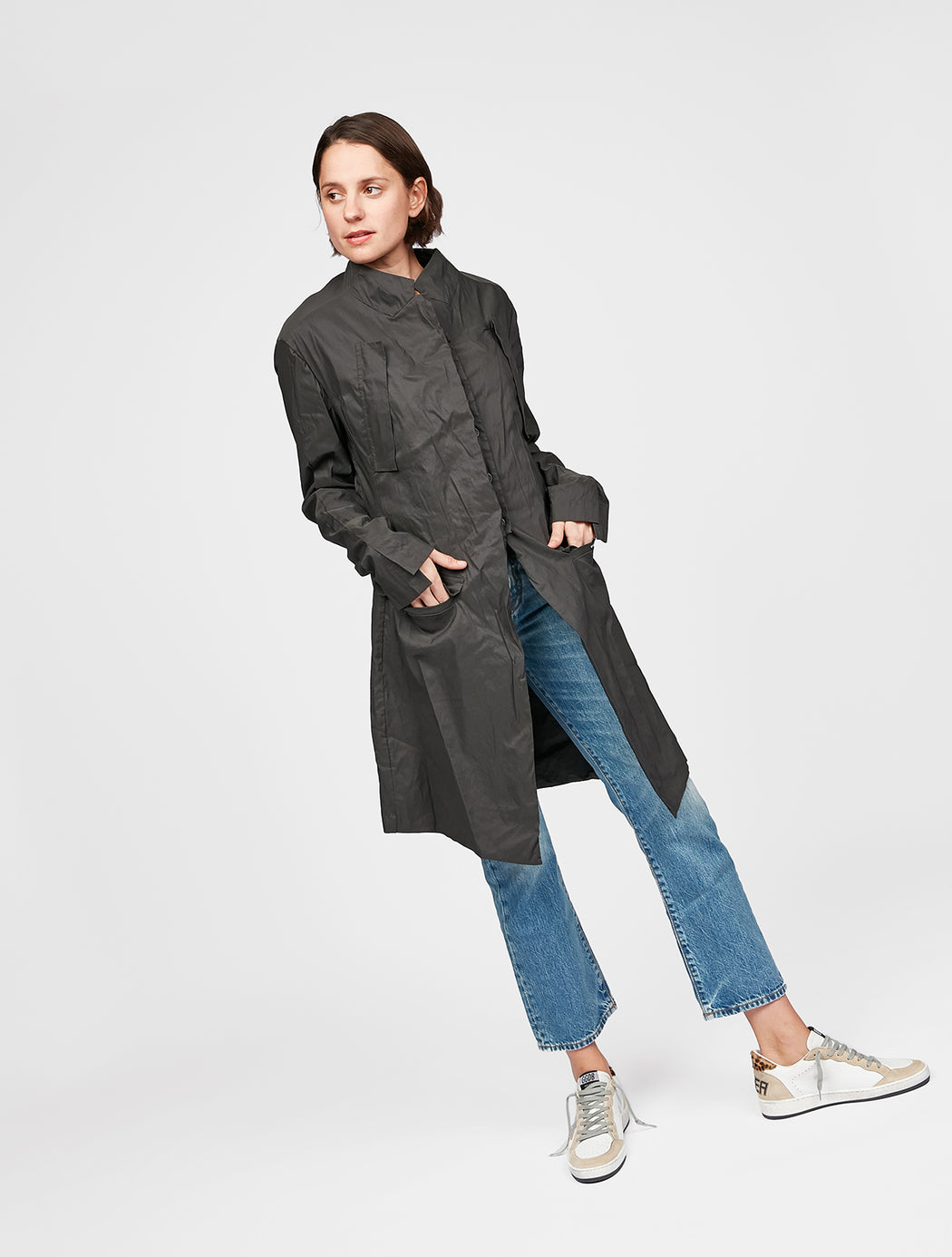 Quilted Pocket Detail Coat