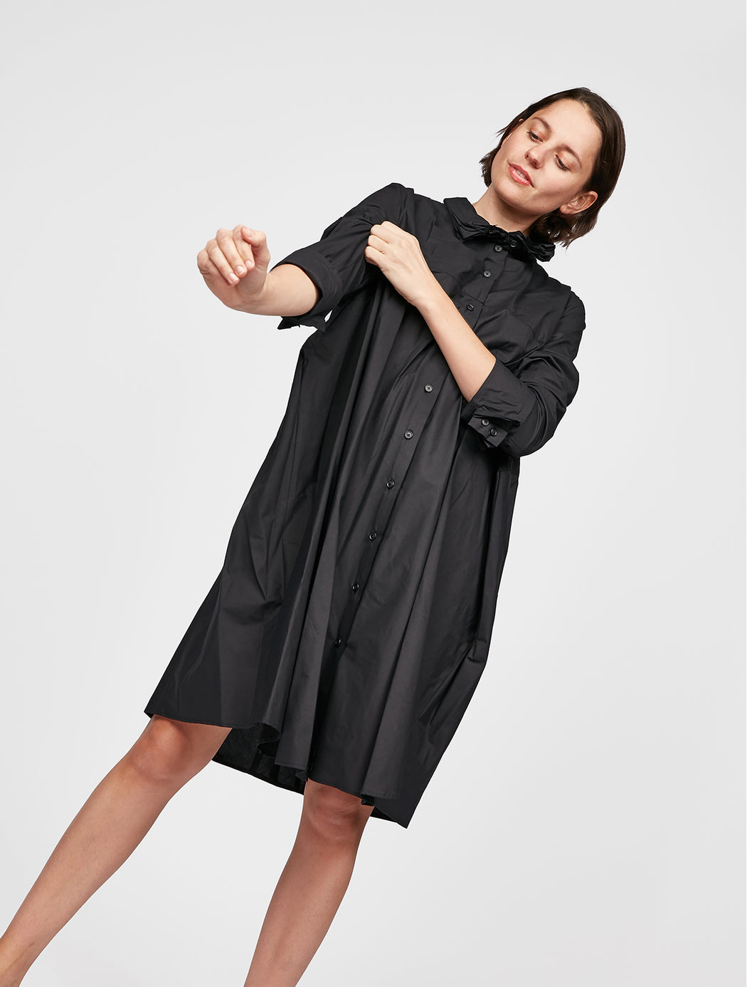 Ruffle Collar Shirt Dress
