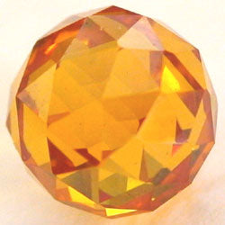 10mm Citrine CZ Diamond Cut