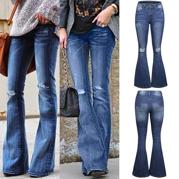 novel design release info on sale online 70s Plus Size Ripped Bell Bottom Jeans - Dark Blue - XS