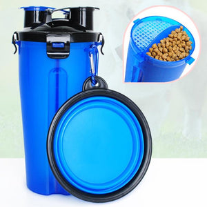 2-IN-1 PET TRAVEL WATER & FOOD BOTTLE WITH 2 FORDABLE BOWLS