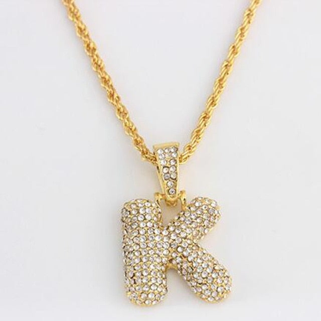 Iced out Initial Necklace