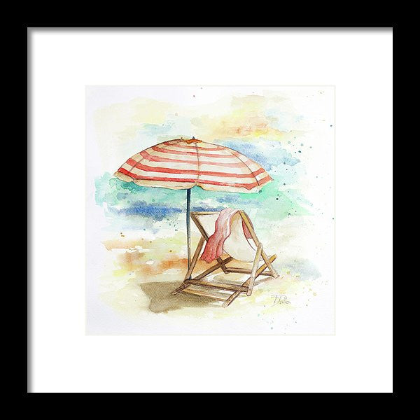 Umbrella On The Beach II Framed Print by Patricia Pinto