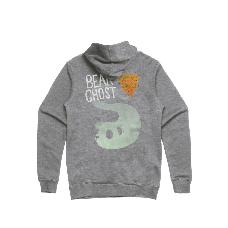 Bear Ghost Pullover Hoodie Heather Grey Back