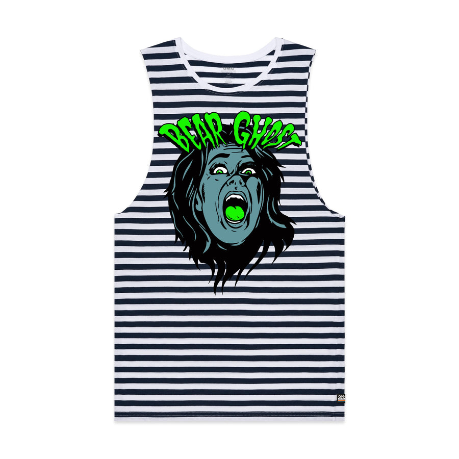 Bear Ghost Striped Sleeveless Tee Navy and White