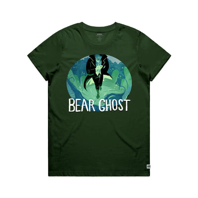 Bear Ghost Women's Tee Shirt Forest Green