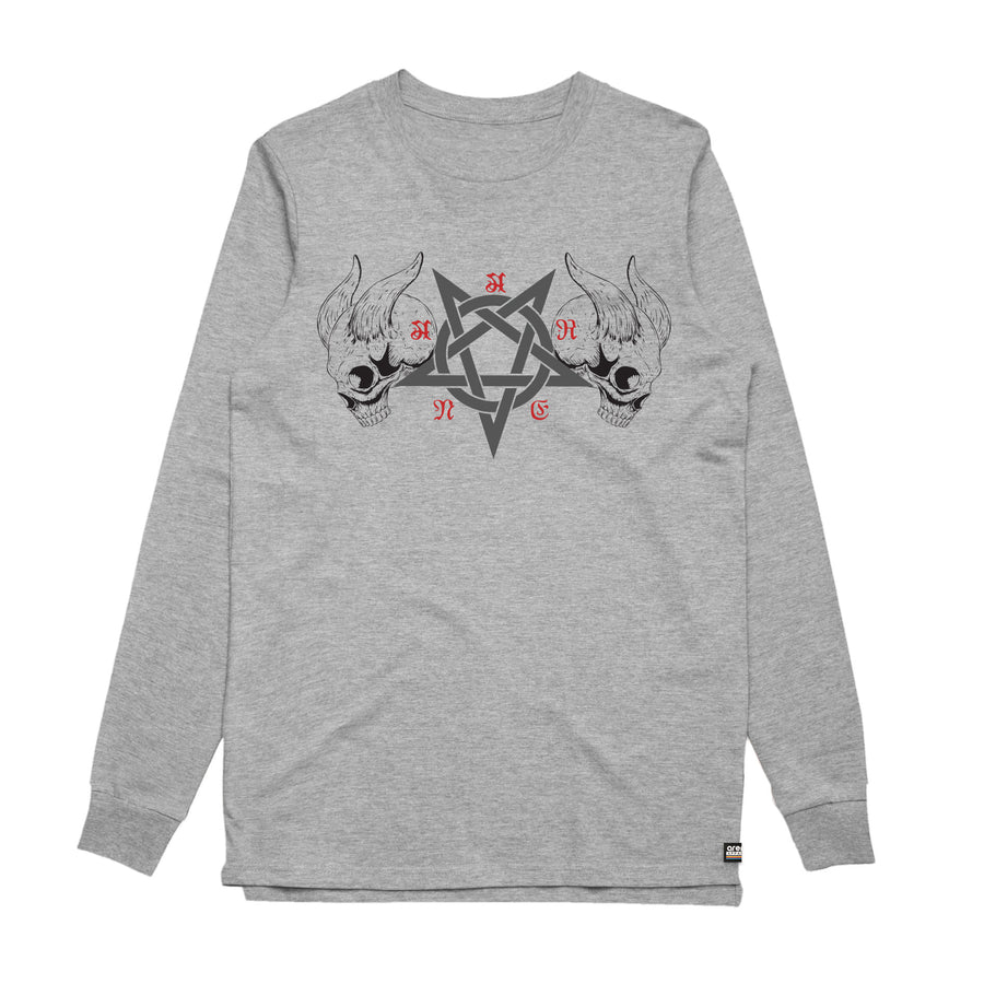 Black Metal Heather Grey Long Sleeve Shirt