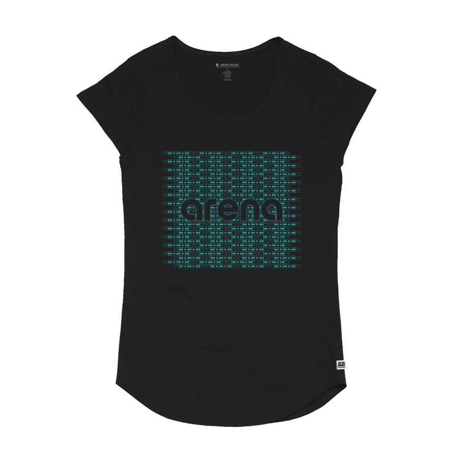 Circuit Women's Black Curved Hem Tee Shirt