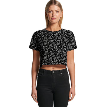 Black Paisley - Women's Cropped Tee | Arena