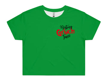 Women's Resting Grinch Face Crop - All Over Print Tee Shirt | Arena