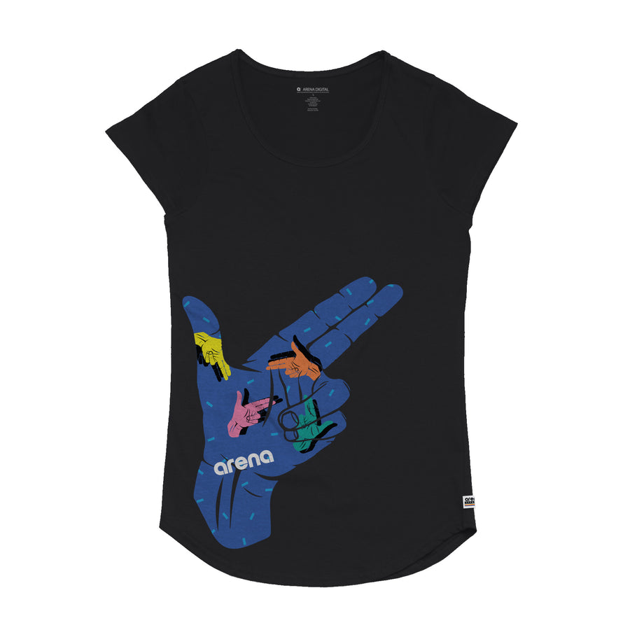 Finger Gun - Women's Curved Hem Tee Shirt - Band Merch and On-Demand Designer Shirts