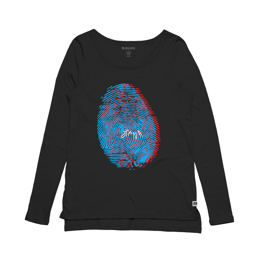 Fingerprint Women's Black Long Sleeve Tee Shirt