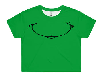 Women's Grinch Smile Crop - All Over Print Tee Shirt | Arena