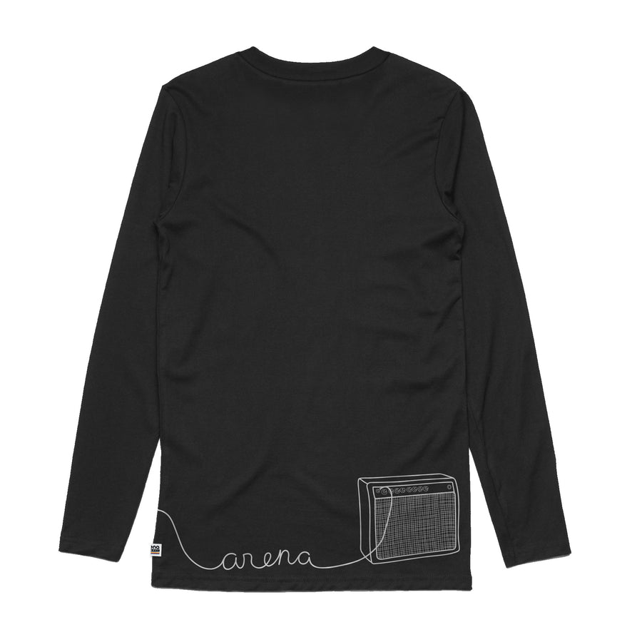 Guitar Black Long Sleeve Tee Back
