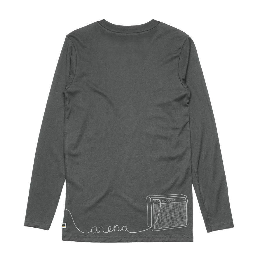 Guitar Charcoal Long Sleeve Tee Back