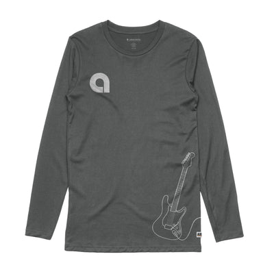 Guitar Charcoal Long Sleeve Tee Front