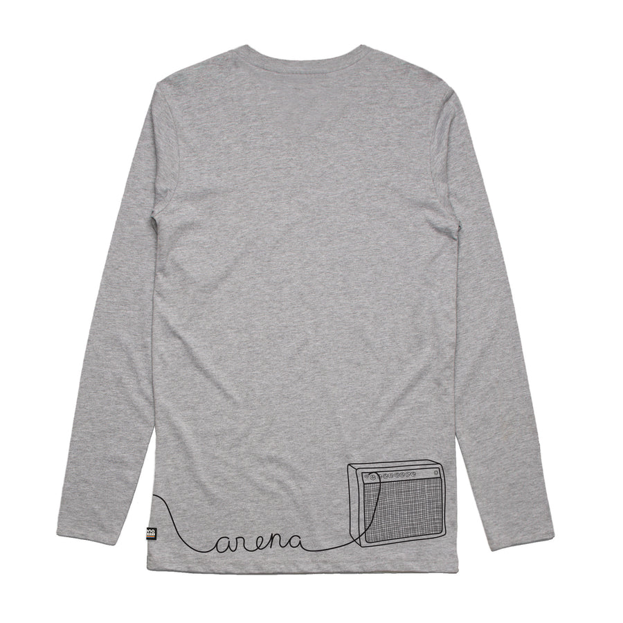 Guitar Heather Grey Long Sleeve Tee Back