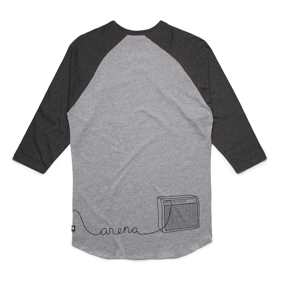 Guitar Heather Grey and Asphalt Heather Raglan Back