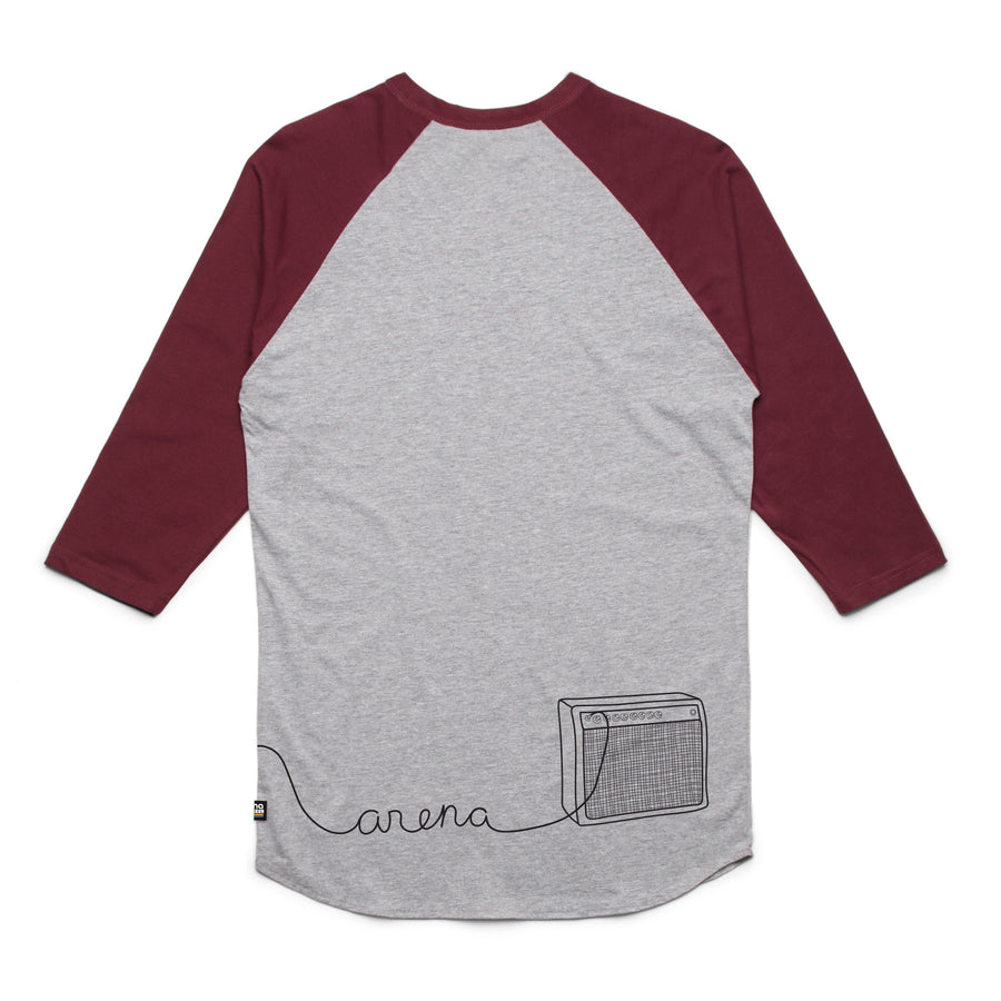 Guitar Heather Grey and Burgundy Raglan Back
