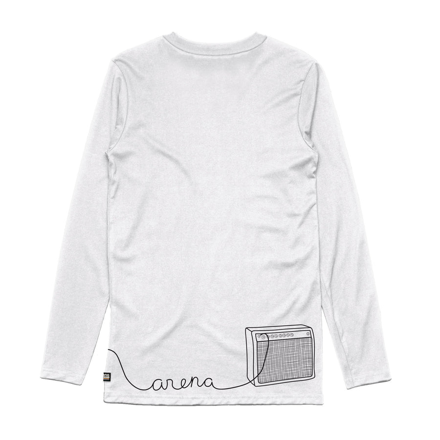 Guitar White Long Sleeve Tee Back