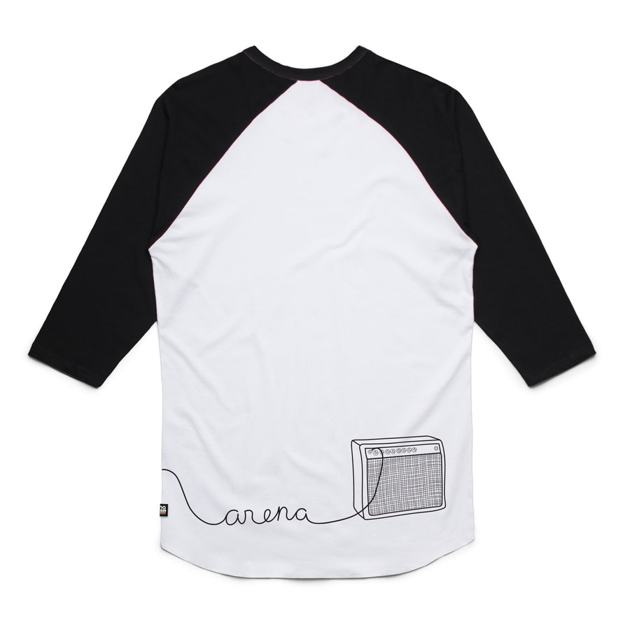 Guitar White and Black Raglan Back