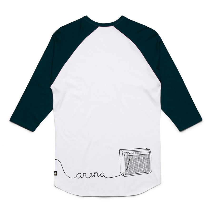 Guitar White and Navy Raglan Back