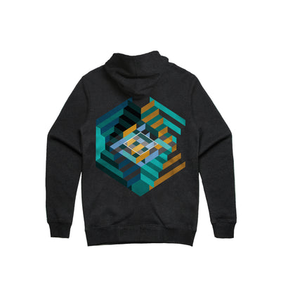 House of Stairs Geometric Asphalt Heather Unisex Pullover Hoodie Back