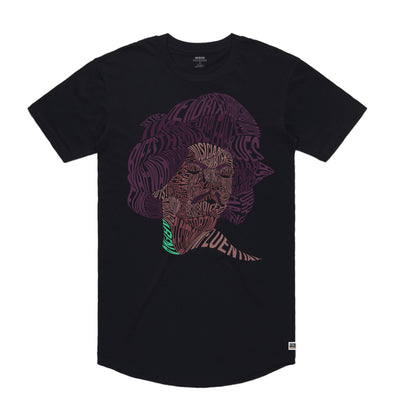 Jimi Hendrix - Men's Curved Hem Tee Shirt