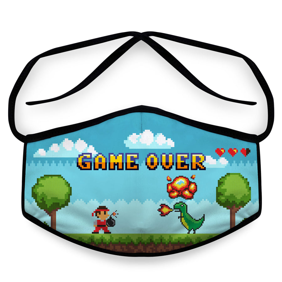 Game Over- Arena Tour Mask (Includes 1 PM2.5 Carbon Filter) Reversible Face Mask