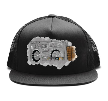 The Justice System - Boom Box Trucker Snapback Hat - Band Merch and On-Demand Designer Shirts