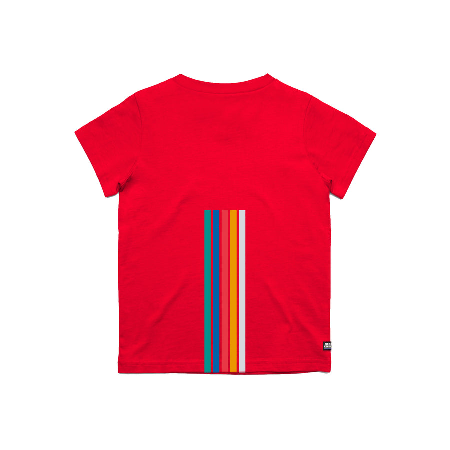 Arena 5 Stripes Red Youth Tee Shirt Back