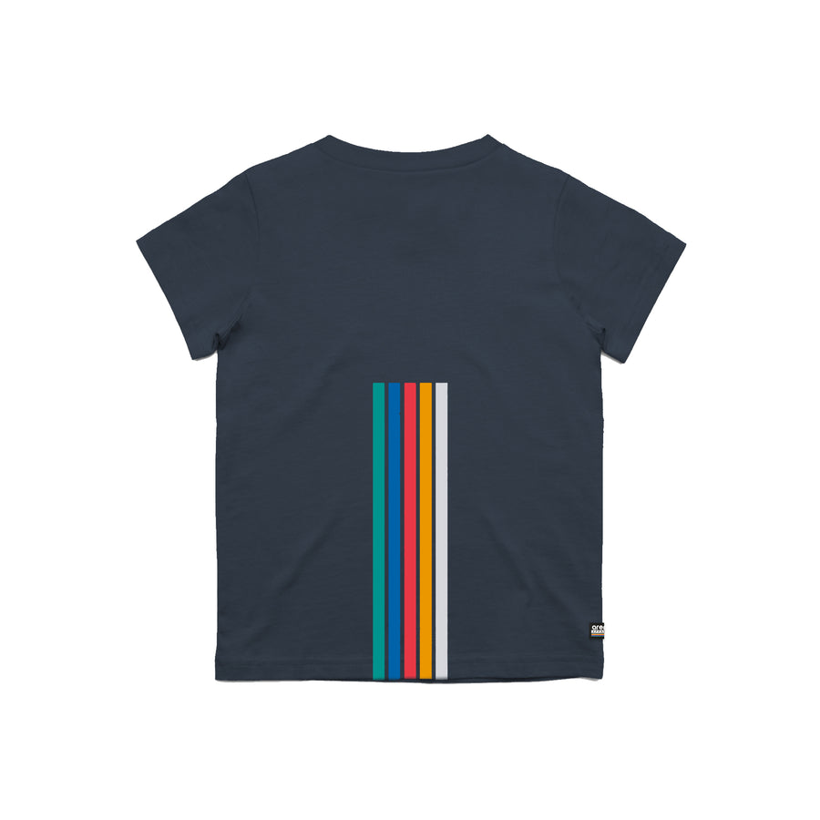 Arena 5 Stripes Navy Youth Tee Shirt Back