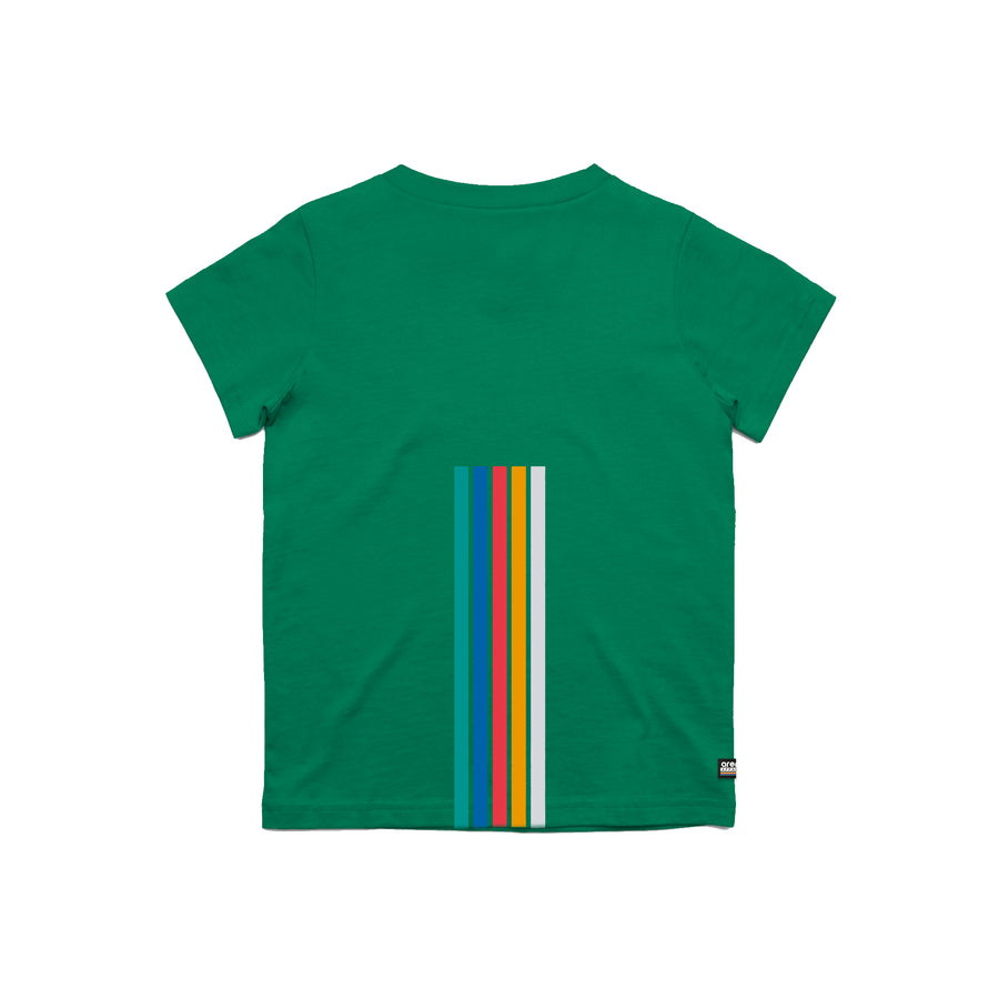 Arena 5 Stripes Green Youth Tee Shirt Back