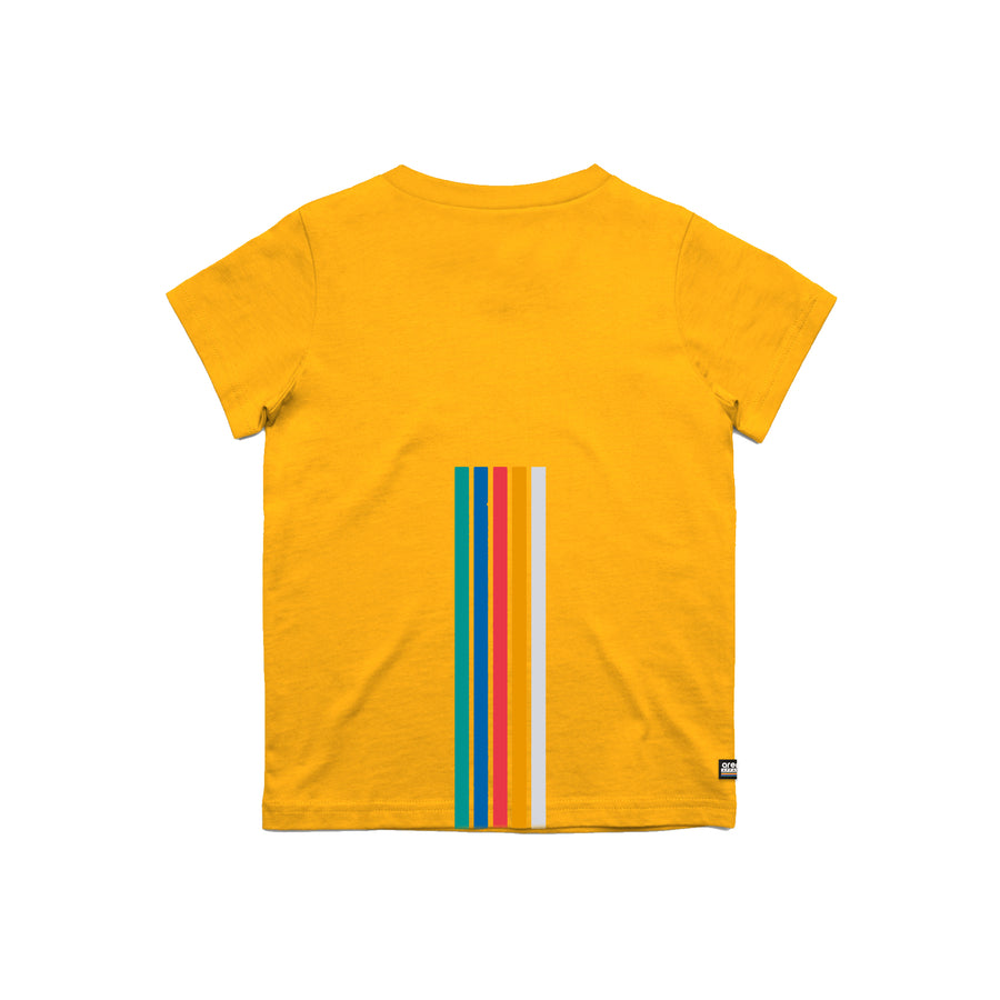 Arena 5 Stripes Gold Youth Tee Shirt Back