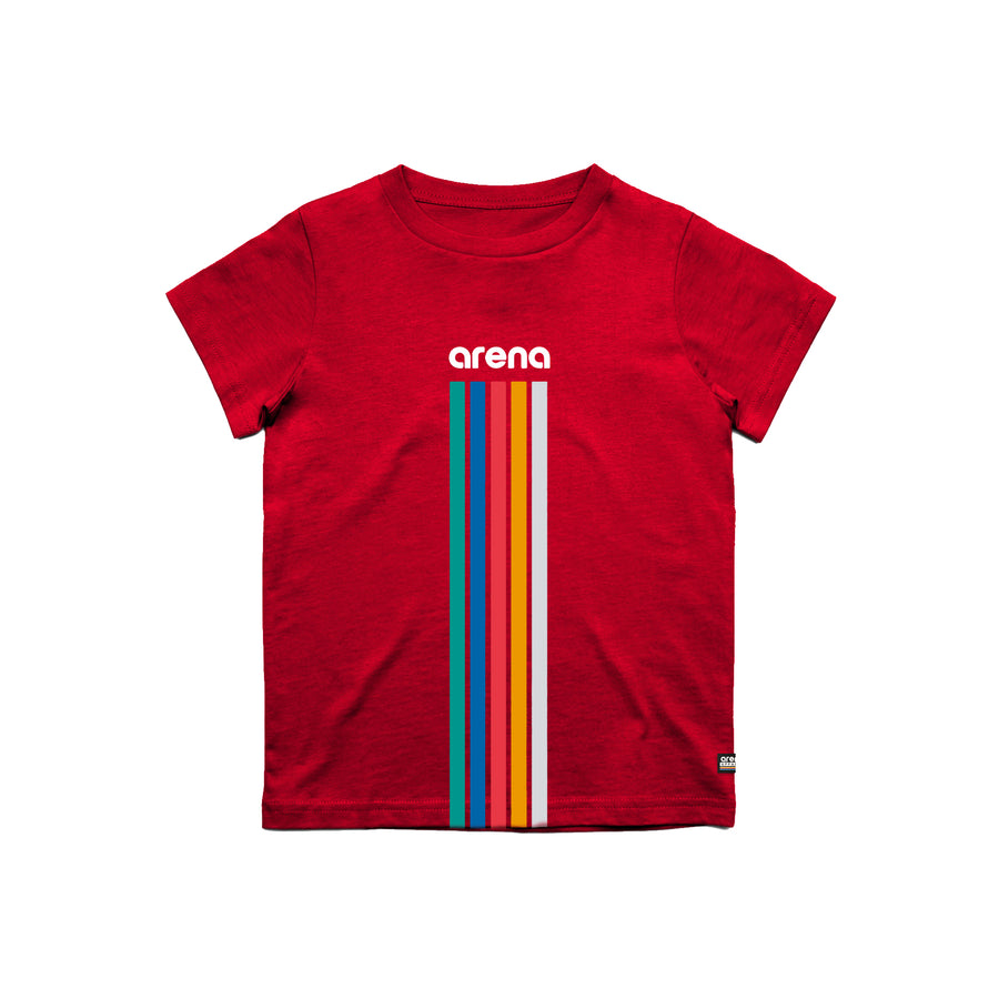 Arena 5 Stripes Red Youth Tee Shirt Front
