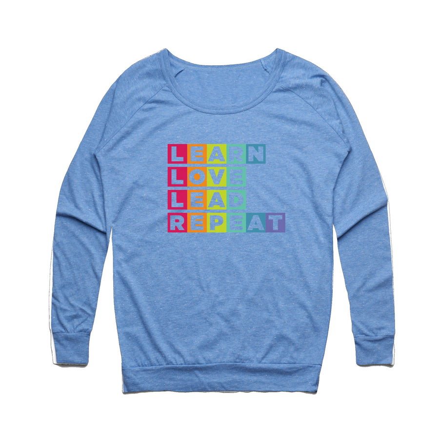 Learn Love Lead Blue Slouch Sweater Front